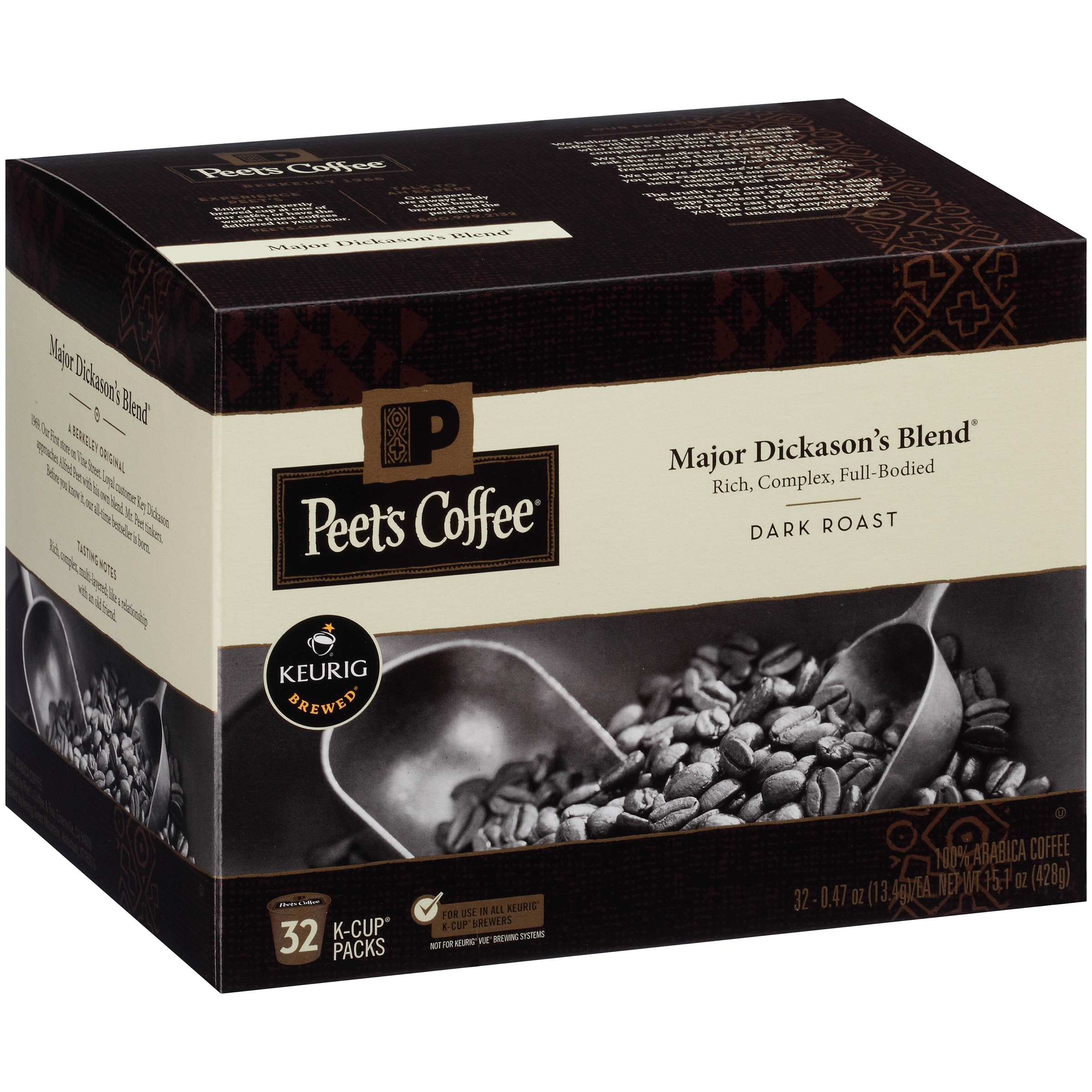 Peet's Coffee Major Dickason's Blend Dark Roast Coffee K-Cup Packs, 0.47 oz, 32 count