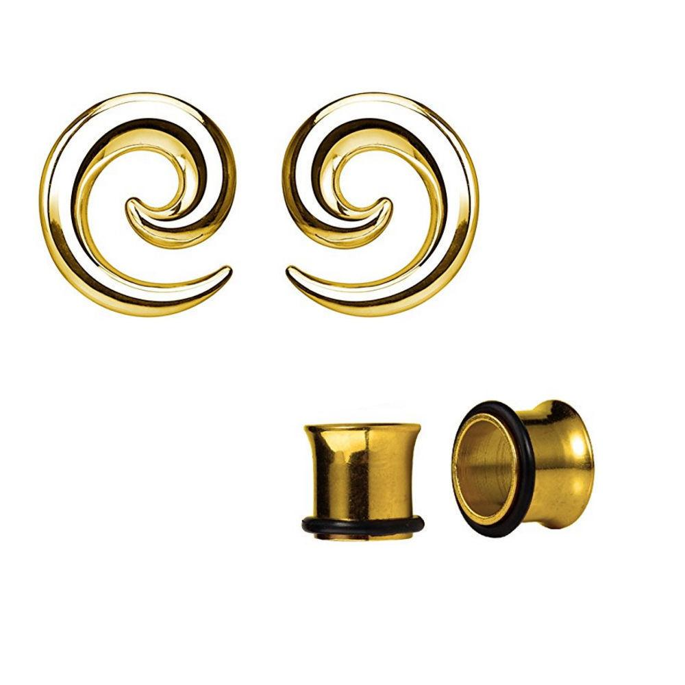 Anodized Titanium Seamless Steel Spiral Ear Tapers with Ear Plugs Set Of 2