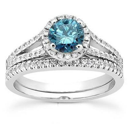 1ct Split Shank Treated  Blue Diamond Ring Set 14K White Gold - image 3 de 3