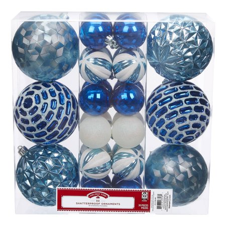 Holiday Time Shatterproof Ornaments, 30-Count, Blue White Holiday Pierced Ornament