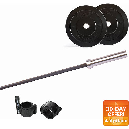 CAP Barbell 50-Pound Bumper Plate Set with Ultra-Lite Bar and Muscle Clamp