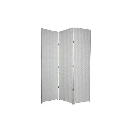 Double-Hinged 6 ft. High Woven Fiber Room Divider ()
