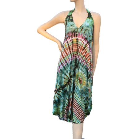 Kathmandu Imports Halter Tie Dyed Backless Dress Beach Cover Up, Free Size (Imported Dresses)