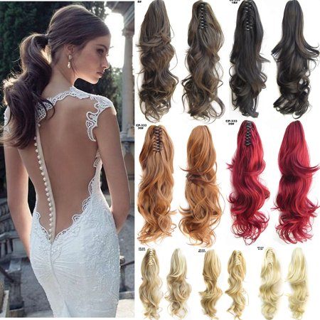 Women Fashion Clip In Ponytail Pony Tail Hair Extensions Claw On Hair Piece Curly Wavy 10 - Color Hair Extensions