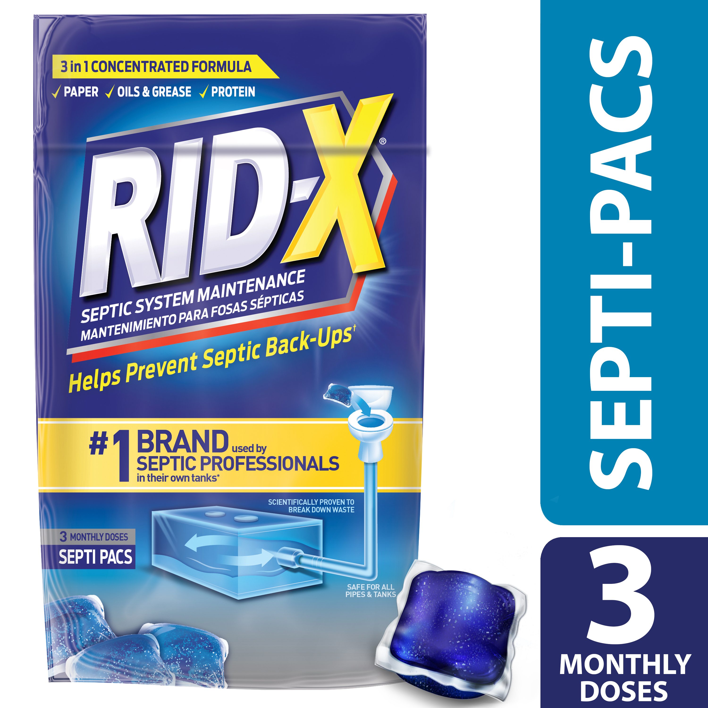 RID-X Septic Treatment, 3 Month Supply Of Septi-Pacs, 3.2oz