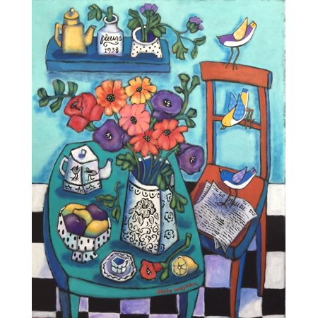 Table with Flowers and Tea Pot Stretched Canvas - Wojahn (12 x 15)](Teapot Planter)