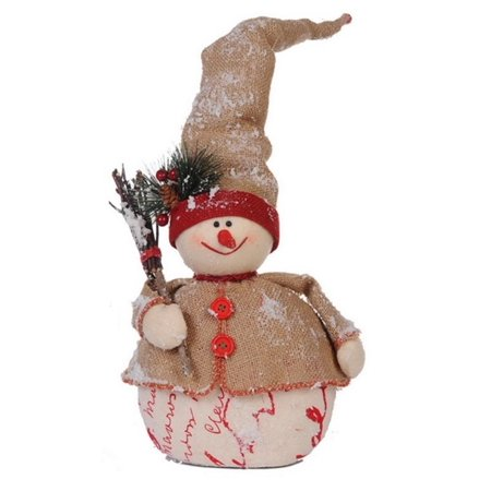 20 country cabin jolly snowman with twig broom christmas table top decoration - Christmas Broom Decoration