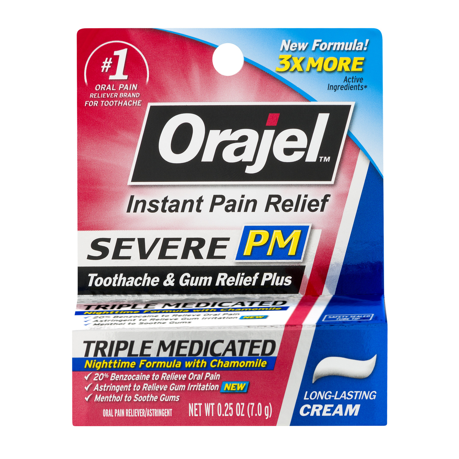 Orajel™ Oral Pain Reliever Triple Medicated for Severe PM Toothache & Gum Relief Plus Cream .25 oz. Pack