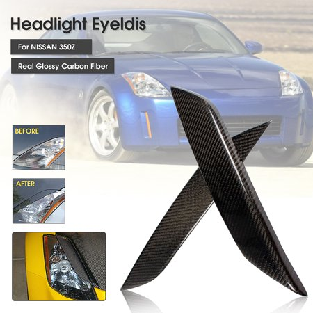 Real Carbon Fiber Headlight Eye Lid Eyelids Trim Cover For Nissan 03-08 350Z Z33