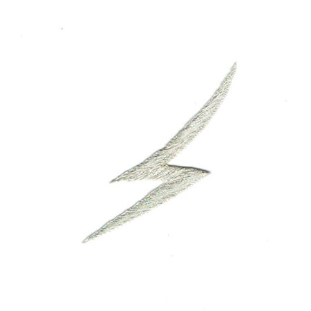 Silver - Lightning Bolt - Iron on Applique - Embroidered