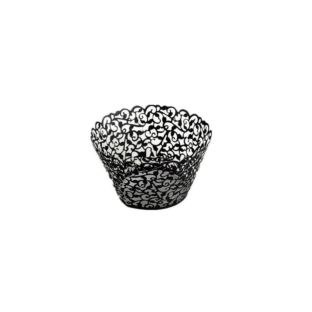 FHD Cupcake Wrappers 100 Filigree Artistic Bake Cake Paper Cups Little Vine Lace Laser Cut Liner Baking Cup Muffin Case Trays for Wedding Party Birthday Decoration (Black)