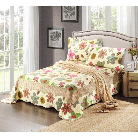 Rainbow Blooms 3 Piece Reversible Quilt Set by Tache Home -