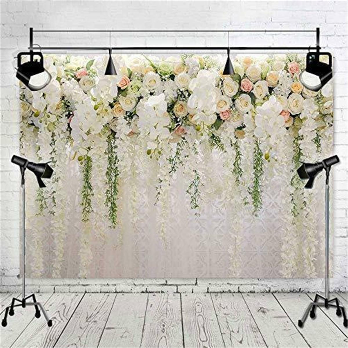 8x8FT Vinyl Backdrop Photographer,Floral,Romantic Love Bouquet Background for Party Home Decor Outdoorsy Theme Shoot Props