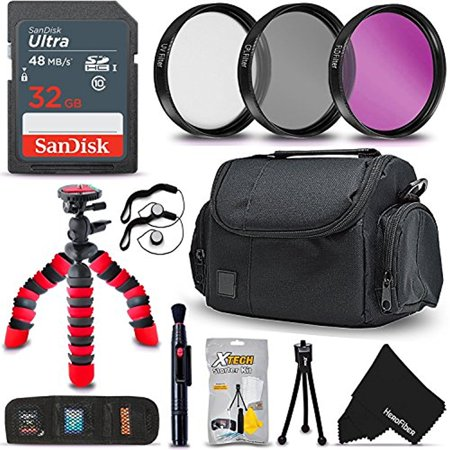 Professional Accessories Kit for All Canon Nikon Sony Fuji Olympus Panasonic Cameras includes 32GB Memory Card, Camera Case, Flexible Tripod, 58MM Filter Kit + HeroFiber Microfiber cleaning