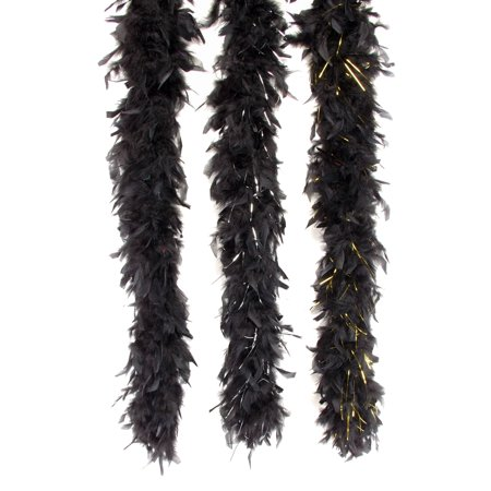 Loftus Gold Tinsel Long Fluffy Feather Boa, Black Gold, One Size (72
