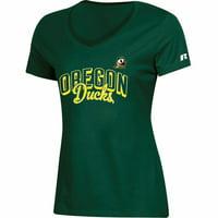 Women's Russell Athletic Green Oregon Ducks Arch V-Neck T-Shirt