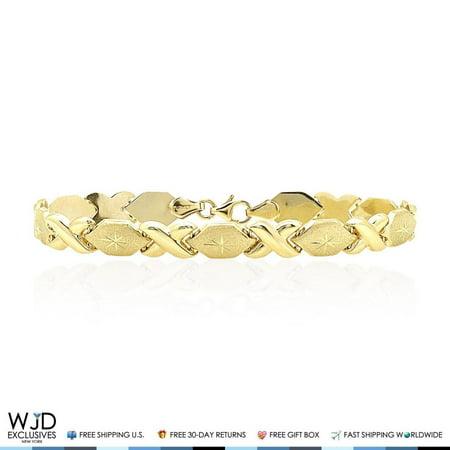 14k Yellow Gold Diamond Cut Hugs & Kisses XO Link 7mm Love Bracelet (Diamond Cut Link Bracelet)