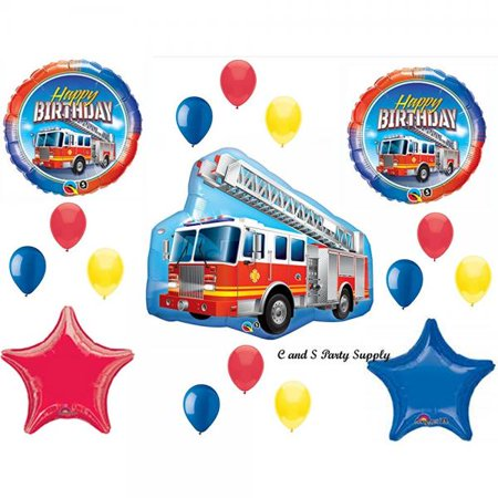 FIRETRUCK Engine Happy Birthday PARTY Balloons Decorations Supplies Fire fighter by Anagram - Fire Engine Party