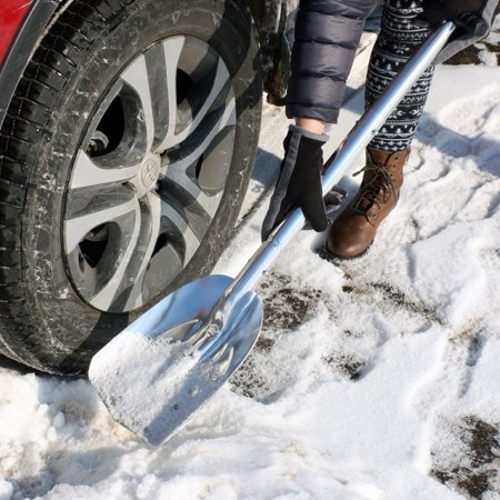 CASL Brands Collapsible Emergency Utility Snow Shovel with 8-Inch x 11-Inch Blade and Carrying Bag, Portable Compact Design, Silver (Sterling Silver Shovel)