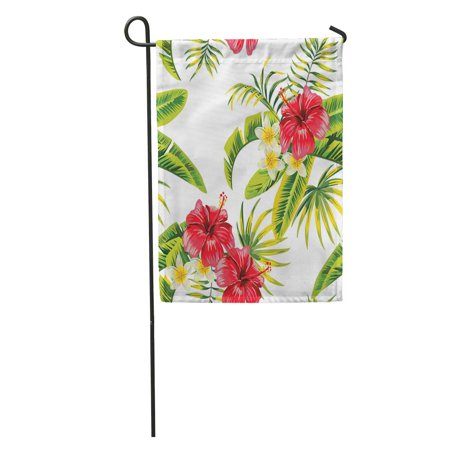 LADDKE Tropic Summer Flower Hibiscus and Orchid Pattern Palm Banana Leaf Garden Flag Decorative Flag House Banner 12x18 inch ()