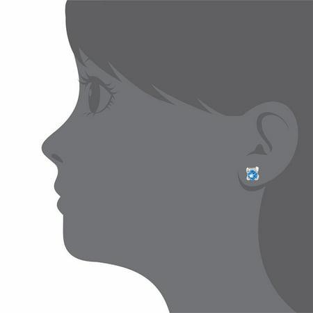 Plaqué Rhodium Bleu Cristal Enfants décembre Bébés filles revisser Boucles d'oreilles 3 mm - image 2 de 5