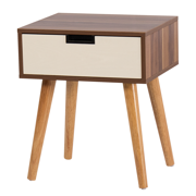 DKLGG Bedside Table, Modern Wood Legs with Storage Drawers Night Table, for Living Room & Bedroom (Light Walnut)