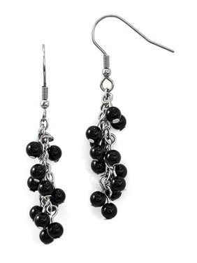 Stainless Steel Black Agate Polished Shepherd Hook Dangle Earrings 4.25grams (L 53mm W 9mm)Polished | Agate | Shepherd hook | Stainless Steel | Dangle