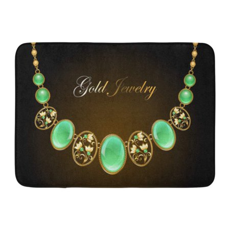 GODPOK Antique Black Accessory Gold Necklace with Oval Precious Chrysoprase Gems and Chain on Dark Green Amulet Rug Doormat Bath Mat 23.6x15.7 inch