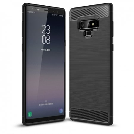 Carbon Fiber Reinforced (Ultra Slim Fit Carbon Fiber Case Reinforced Cover [Shock Absorbent] [Brushed] B1K Compatible With Samsung Galaxy Note9 )