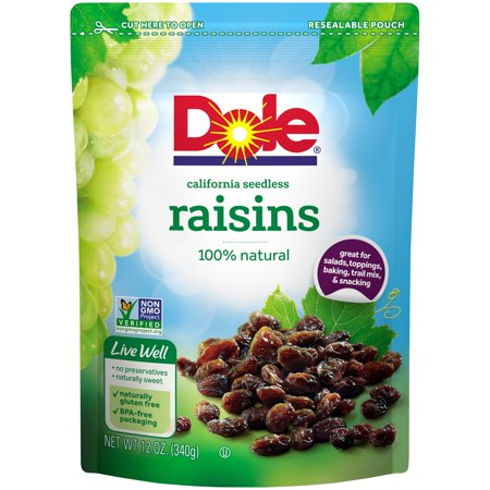 (2 Pack) Dole California Seedless Raisins 12 oz. Pouch