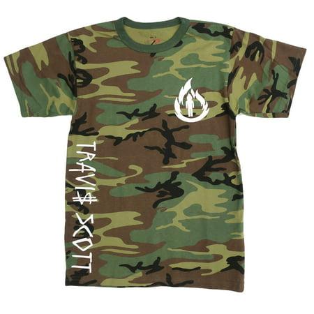 Nike Camp Shirt (Travis Scott, La Flame Logo, Camouflage T-Shirt (White Logo) )