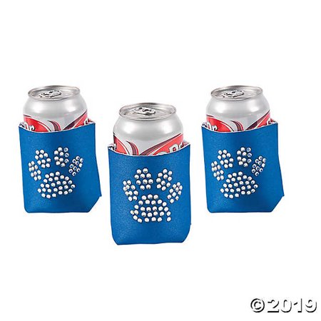 Paw Print Bling Blue Can Coolers
