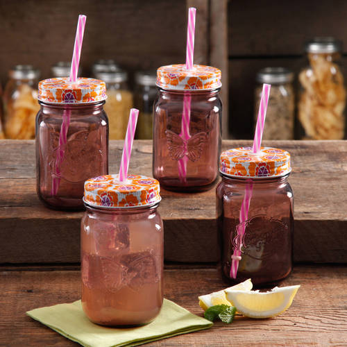 The Pioneer Woman Simple Homemade Goodness 16 oz Mason Jar with Lid, 4-Pack