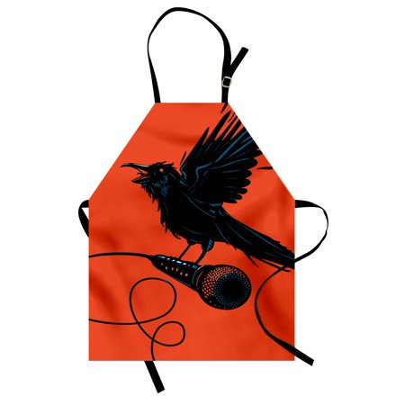 Indie Apron Raven is Holding a Microphone Rock Music Theme Festival Party Gothic Singer, Unisex Kitchen Bib Apron with Adjustable Neck for Cooking Baking Gardening, Orange Black Blue, by Ambesonne