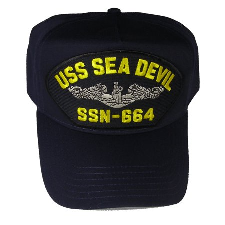 USS SEA DEVIL SSN-664 HAT With Silver Dolphins - Navy Blue - Veteran Owned Business