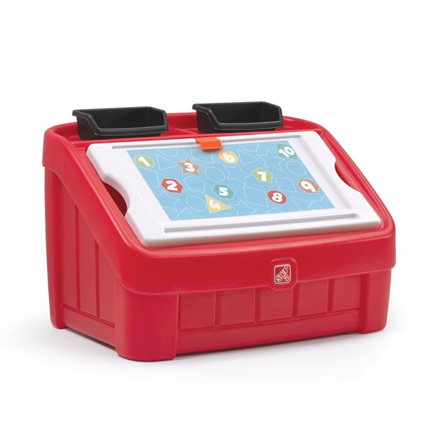 Step2 2-in-1 Kids Toy Box & Art Lid, Red