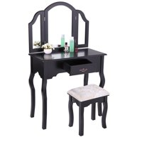 Jaxpety Black Wood Makeup Vanity Table Stool Set Tri Folding Antique Collection Bedroom Dressing Table
