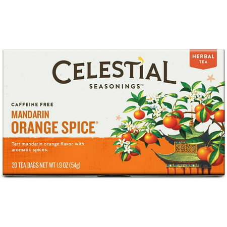 (2 Pack) Celestial Seasonings Herbal Tea, Mandarin Orange Spice, 20 Count (Pack of 6) ()