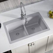 MR Direct Granite Composite 33'' L x 22'' W Double Basin Drop-In Kitchen Sink with Strainers