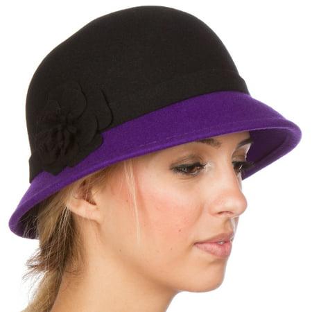 Sakkas Sophia Vintage Style Wool Cloche Hat - Black / Purple - One (The Hut Store)