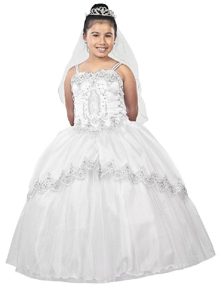 Alegria Kids Big Girls White Virgin Mary Embroidered Organza Bolero Communion Dress 22-24