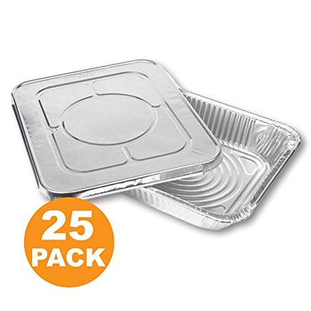 Large Rectangular Disposable Aluminum Foil Steam Table Baking Roast Pans with Flat Lids, Half Size 13 x 9 [25