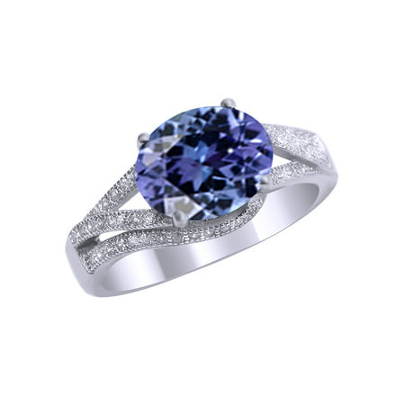 Simulated Alexandrite CZ and White Cubic Zirconia Fashion Ring In 14k White Gold Over Sterling Silver (3 Cttw)