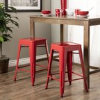 Metro Parsons Counter Stool 24 Quot Crimson Red Leather