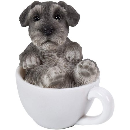 Pacific Giftware Mini Schnauzer Adorable Mini Teacup Pet Pals Puppy Collectible Figurine 3.25 Inches Own Pet Figurines