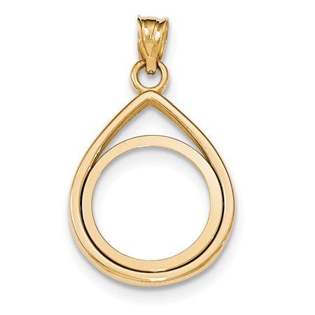 Roy Rose Jewelry 14k Yellow Gold Tear Drop Polished Prong 1/10 Panda Coin Bezel