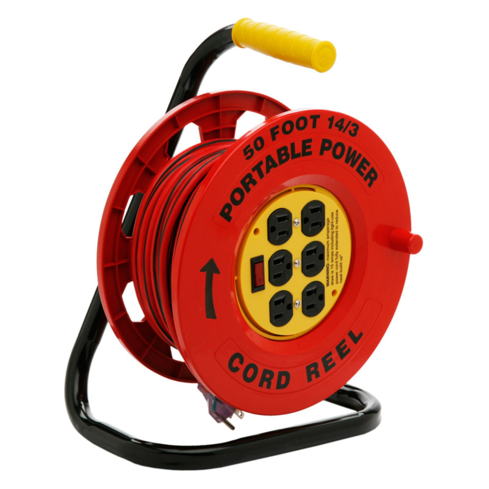 Designers Edge Power Stations 14/3-Gauge Cord Reel with 6 Outlets, 50-Foot