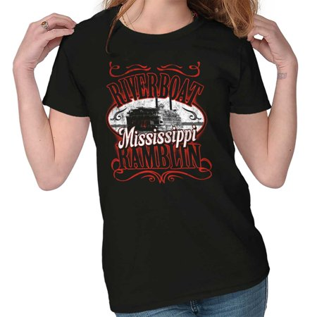 Brisco Brands Historic Mississippi Riverboat Adult Short Sleeve -