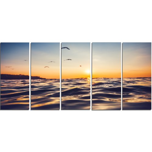 Design Art Orange Tinged Sea Waters at Sunrise 5 Piece Photographic Print on Wrapped Canvas Set