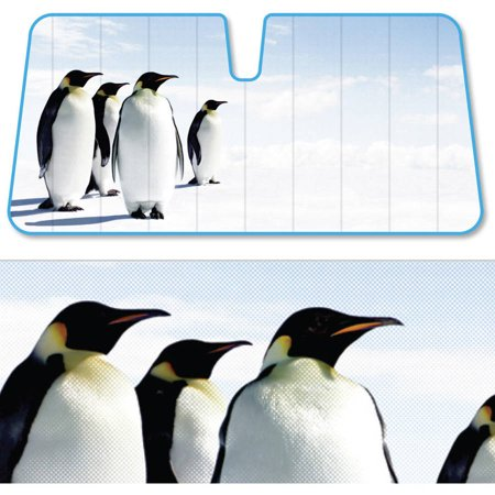BDK Penguins SunShade, Look Into The Distance, Folding Accordion with Static Cling Auto Shade